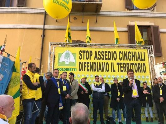 Cinghiali: la Provincia alla manifestazione nazionale di Coldiretti a Roma